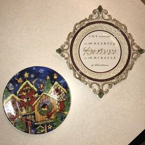 Christmas Decor Plates Wall Hanging